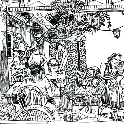 On-site drawing done in Disney's Harambe Village, Orlando, FL