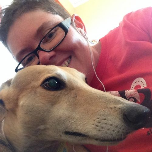 me and millie the greyhound. millie and her current roommate allie are twice a day, daily walking clients.