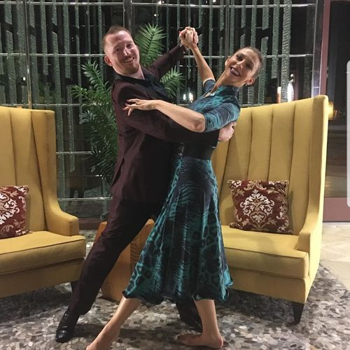 Dancing in the hotel lobby!