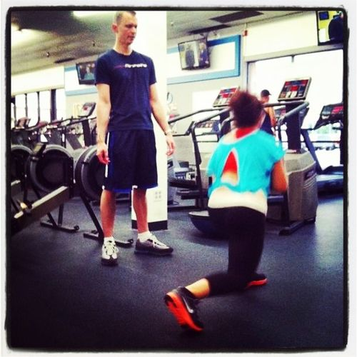 Lunges with a client