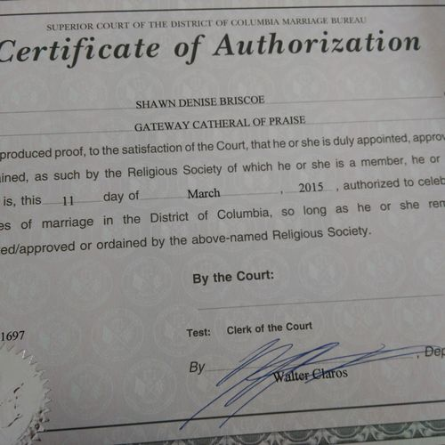 Authoriztion from us courts to officiate