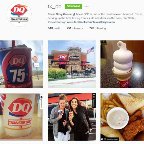 Instagram account management for Texas Dairy Queen