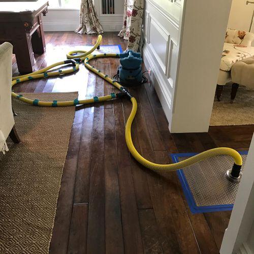 Floor drying system.