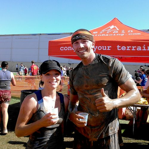 Athlete, Rebekah and I finishing the Mud Terrain Race.