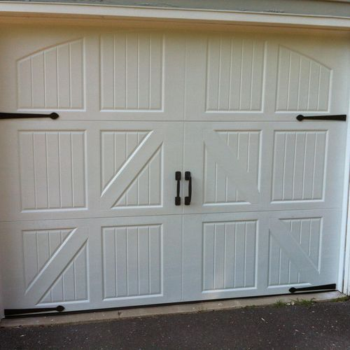 """2 layer 2"""" thick steel door R value7.6,  carriage house design and cast iron decorative hardware , Bethel CT"""