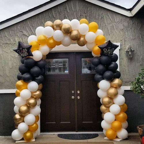 2 Gold Tone W/White  balloon Arch with a dash of Blask