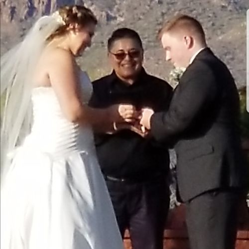 Lost Dutchman Mine behind me.  Beautiful venue surrounded the Arizona desert. Congrats to the newlyweds!