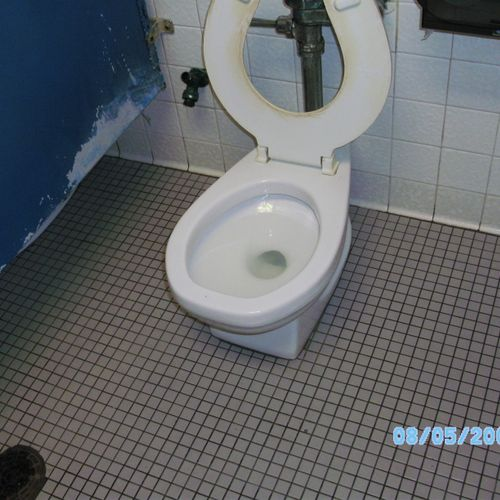 And this is after we cleaned it.  The seat and partition had to be replaced but we were able to save the toilet.  Wow what a difference.