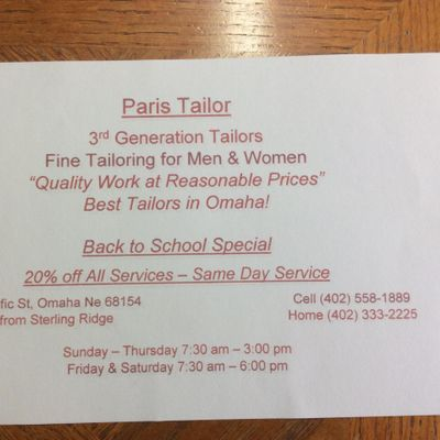 Avatar for Paris Tailor Omaha, NE Thumbtack