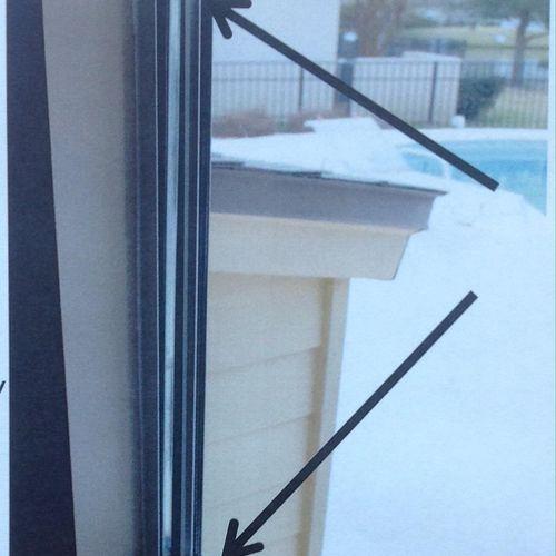 Broken sash guide in a kinco non-tilt window. Very inexpensive fix.