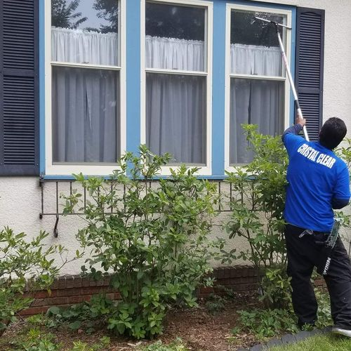 Residential window cleaning.