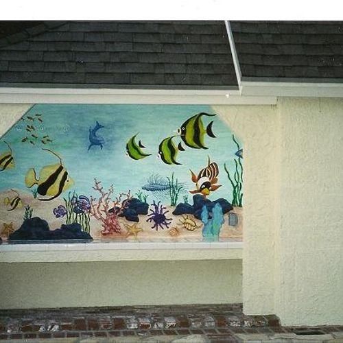 Exterior Underwater Ocean Mural. Exterior Poolside. Northridge, Ca.