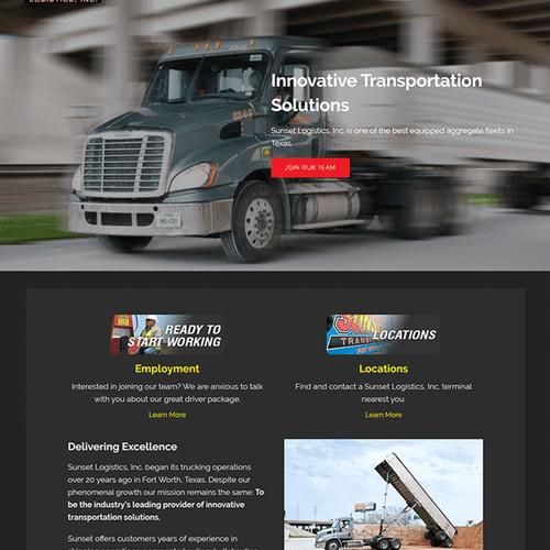 Website design for Sunset Logistics