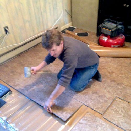 Cork floor installation