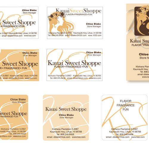 "Kauai Sweet Shoppe, Kauai, Hawaii: Logo/Branding development and business card series. Primary logo and ""Alt logo"" designs."