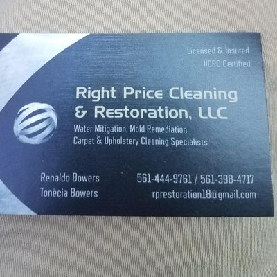Avatar for Right price cleaning & restoration, llc