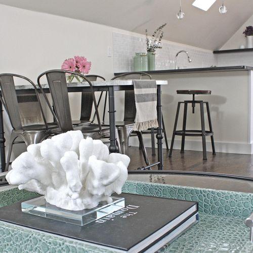 Design & Renovation of 1000 sf loft apartment in Salem, MA Staging By: Nicole Jocelyn Photo Credit: Caryn Benoit