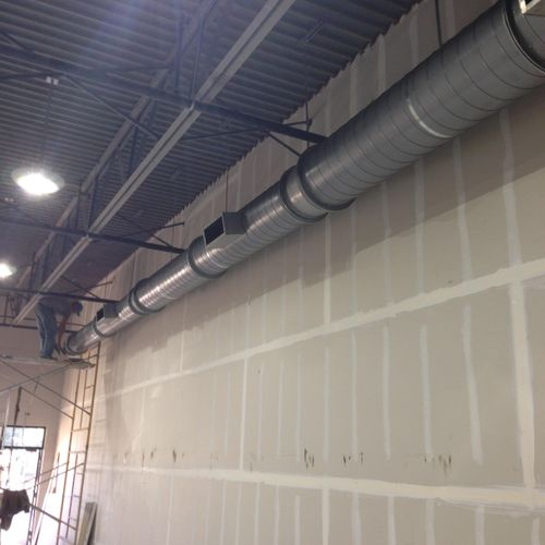 Spiral seam duct work. Commercial application.
