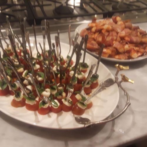 Caprese Salad Forks & Bacon wrapped Shrimp drizzled with Maple Syrup
