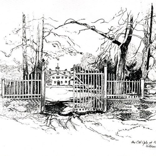 The Old Gate at mt.Vernon  ( drawn from a19th Century photograph )