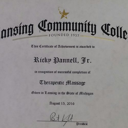 Massage Certificate of Completion from Lansing Community College