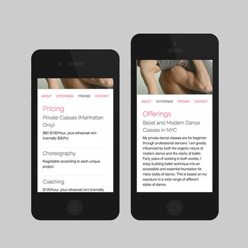 The mobile version of the responsive theme built for a dance teacher in NYC.