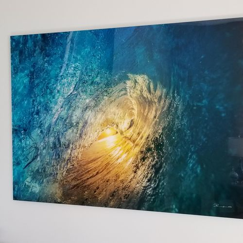 This is an actual photo taken inside a wave. I hung this very expensive piece of art for a Great customer in Wake Forest.