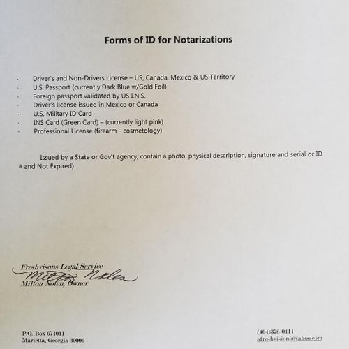 Required Forms of ID for Notarizations