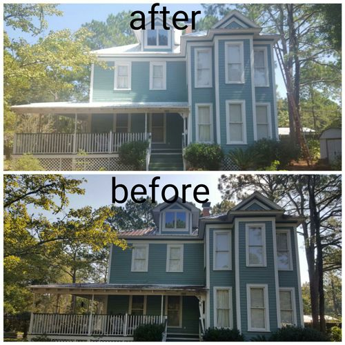 a non-pressure roof cleaning made this home sparkle!