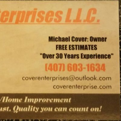 Avatar for Cover Enterprises llc. Kissimmee, FL Thumbtack