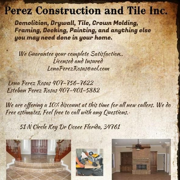 Perez Construction and Tile Inc.