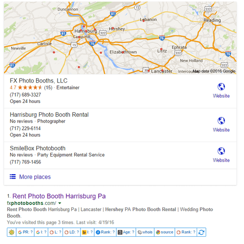 We ranked FX Photo Booths #1 on Google Maps and #1 in organic Search.