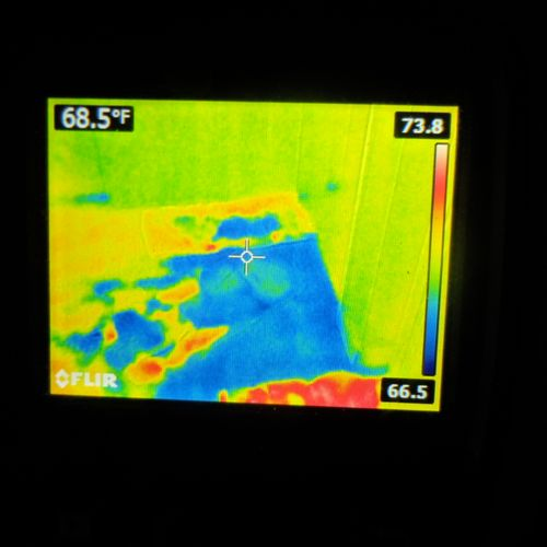 Infrared Thermography. To locate elevated moisture visible unseen.