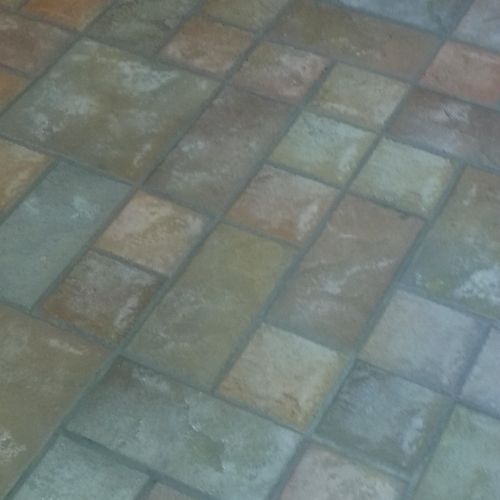 Floor after cleaning and grout stain