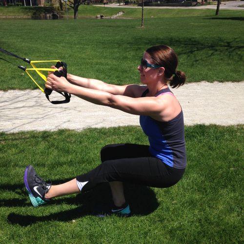 Client using the trx, pistol squat