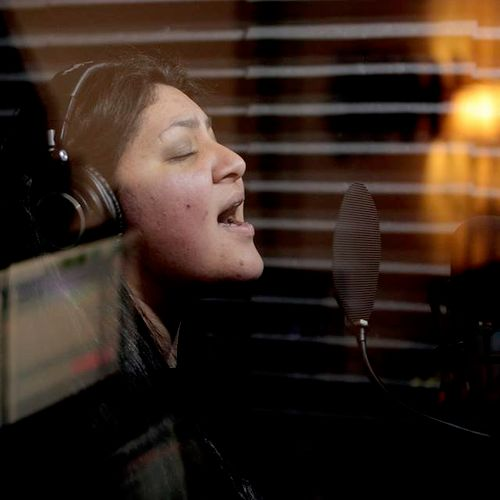 Daisey Torvisco laying down some vocals for Madafra