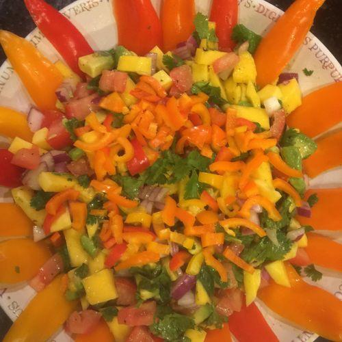 Fresh vegetable stack salad