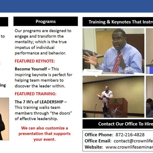 (3/3) Marquez Hughley - Speaker Brochure - Crown Life Seminars, LLC.