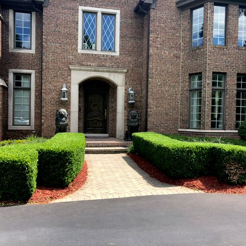 The end result of a lot of mulching and trimming for a client in Bloomfield Hill