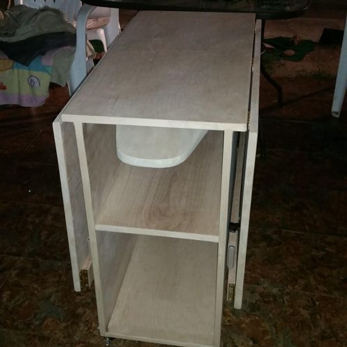 Custom Work- Sowing table with pull out ironing board. Finish added to customers request.