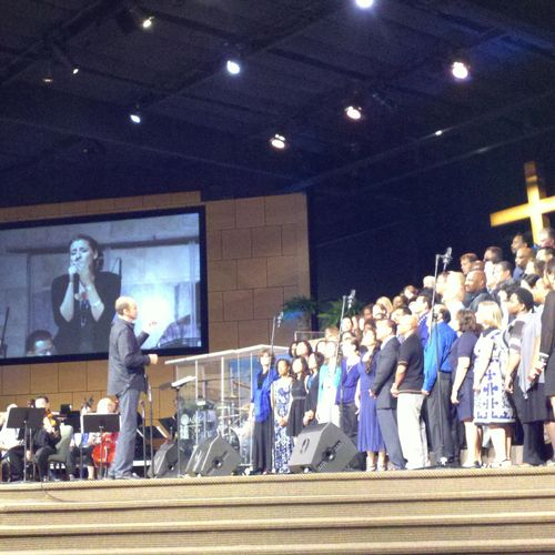 Leading a song with a 200 voice choir at my old church back in CA.