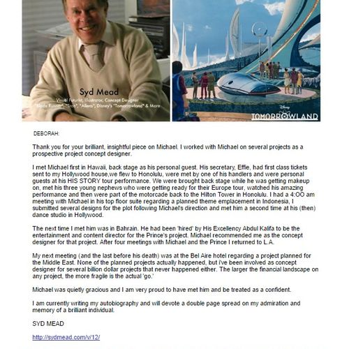 "Well-known conceptual artist Syd Mead's endorsement of my work.  Syd is well known for his work in Disney's ""Tomorrowland"" as well as ""Aliens"", ""Tron"" and many others."