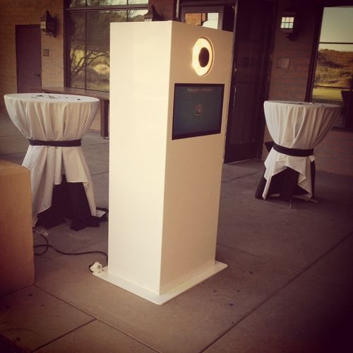 We offer a sleek and clean design that will go with any setting and decor. Our photo booth does not have a curtain. This allows for more people to be in the pictures and creative backdrops.