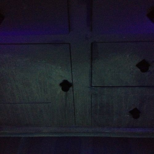 Cat urine spray on drywall & built-in cabinets. These stains were invisible without the aid of a UV Black light.
