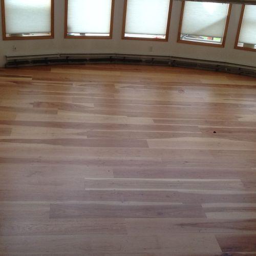 Refinished 10' Hickory Solid Hardwood Flooring Purchased at Alaska Wood Flooring Supply.