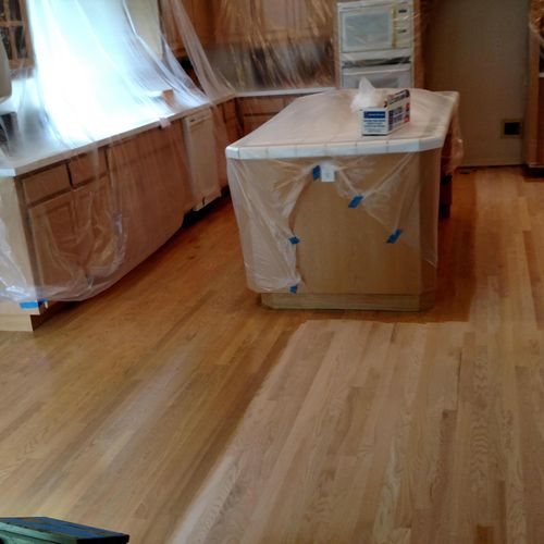 During prep and sand Red Oak