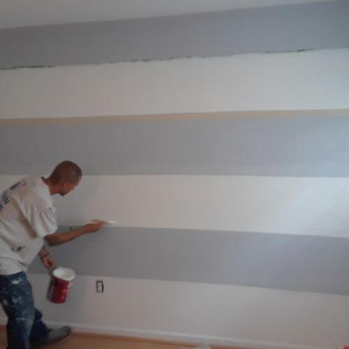 Gray added to custom wall