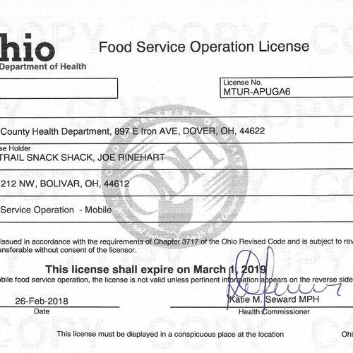 OH Food Service License MTUR-APUGA6