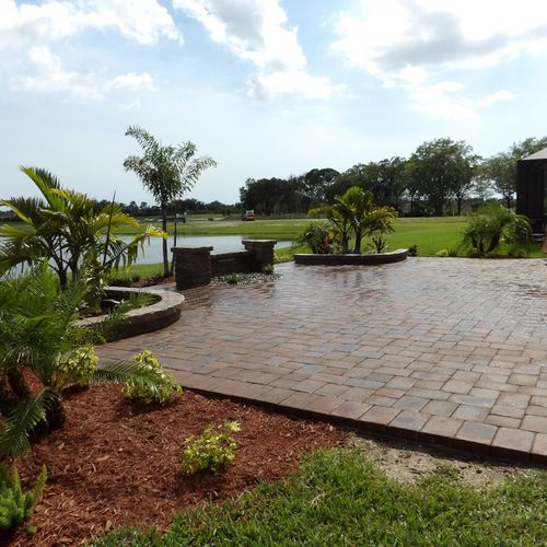 Paver patio and landscaping.