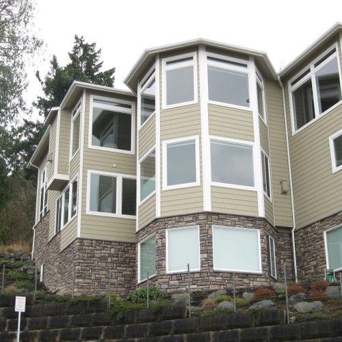 Lake Steilacoom project Custom home  - Rear Elevation